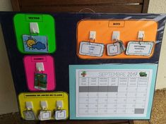 Class calendar (for MS and GS), Home Activities Activities For Boys, Home Activities, Montessori Activities, Classroom Organization, Classroom Management, Make Your Own Game, Class Schedule, Painting For Kids, Lund