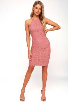 Lover's Way Rusty Rose Lace Bodycon Dress 2