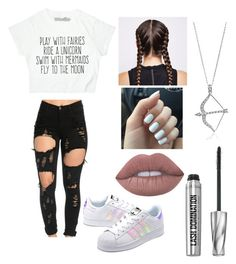 """Play with fairies ✨"" by brynnmarie15 ❤ liked on Polyvore featuring adidas Originals, Ultimate, BERRICLE, Lime Crime and Bare Escentuals"