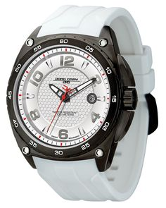 Jorg Gray JG8400-12 Men's Watch Silver Dial Integrated White Rubber Strap