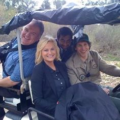 """Jim O'Heir (Jerry Gergich), Poehler, Ansari, and Andy Samberg (Carl Lorthner) before park security ranger Carl got his brand-new security cart, courtesy of Leslie. 