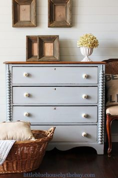 Gorgeous Gray Dresser by Little Blue House by The Bay Staging Furniture, Repurposed Furniture, Furniture Projects, Furniture Makeover, Furniture Refinishing, Refinished Furniture, Painting Furniture, Kitchen Couches, Grey Painted Furniture