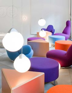 More Fabrics loves this explosion of Bright coloured chairs and poufs. Perfectly in-balance geometry.