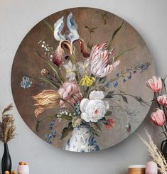Ronde oude meesters: wandcirkels en muurcirkels HIP ORGNL Masters Oil Painting Flowers, Painting & Drawing, Round Canvas, Simple Canvas Paintings, Still Life Flowers, Mood And Tone, Decoupage Box, Gold Art, Decorative Plates