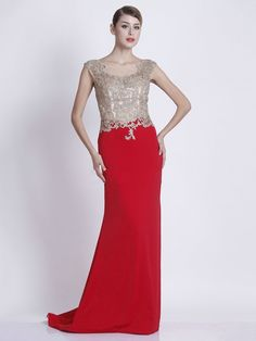 Red Long Prom Dresses,Sheath/Column Evening Dresses,Scoop Neck Tulle Chiffon Sweep Train with Sequins Formal Party Dresses