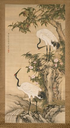 The Metropolitan Museum of Art - Cranes, Peach Tree, and Chinese Roses. After Shen Nanpin (Japanese: Shin Nanpin) (Chinese, Period: Qing dynasty Date: early century Culture: China Medium: Hanging scroll; ink and color on silk. Asian Artwork, Japanese Artwork, Japanese Painting, Chinese Painting, Chinese Artwork, Pintura Zen, Arte Ninja, Art Asiatique, Art Japonais