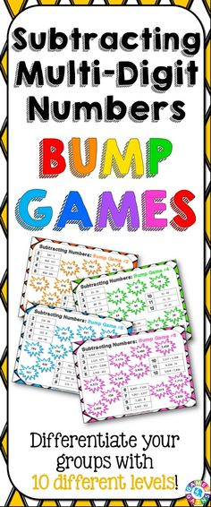 Subtraction Bump Games contains 10 different subtraction games to help students practice subtracting multi-digit whole numbers. As students work through these subtraction games, each one ramps up in difficulty. This means that you can have all of your students working at their appropriate level when using this set! https://www.teacherspayteachers.com/Product/Subtraction-1995193