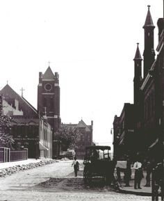 Nineteenth Street looking south across Morgan and Lucas Streets. St. Nicholas Catholic Church (German) at 1831 Lucas in left distance. (1900) Missouri History Museum