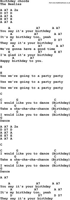 Rock and pop song lyrics with chords for Birthday - The Beatles Beatles Birthday Song, Birthday Songs, Beatles Songs, The Beatles, Pop Song Lyrics, Pop Songs, Ukulele Songs, Guitar Chords, Dwight Yoakam