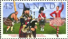 stamp with bagpiper and highland dancer. Also see a caber toss guy in the background!
