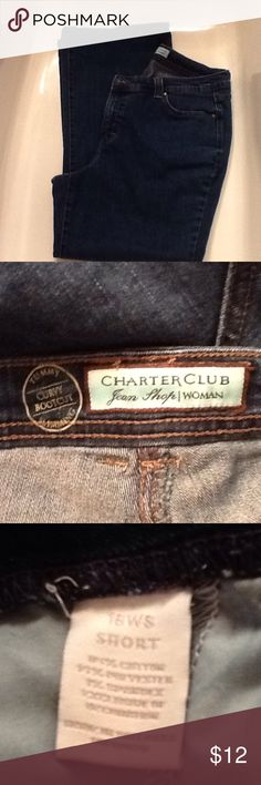 Charter Club Tummy Slimming Curvy Bootcut Jeana Soft denim, dark. Cotton/polyester, machine wash. Size 16WS (wide/short). Charter Club Jeans Boot Cut