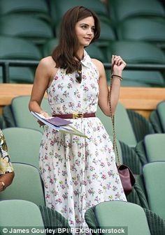 Jenna Coleman oozes summer chic in an elegant floral shirt dress Doctor Who, Eleventh Doctor, Jenna Coleman Style, Floral Shirt Dress, Rory Williams, Summer Chic, Wimbledon, Formal, Style Guides