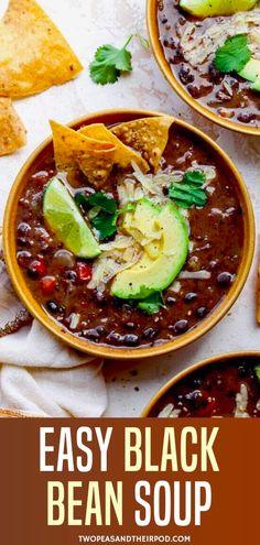 Bean Soup Recipes, Chili Recipes, Mexican Food Recipes, Vegetarian Recipes, Dinner Recipes, Cooking Recipes, Healthy Recipes, Mexican Chili Beans Recipe, Black Bean Chili Recipe Vegetarian