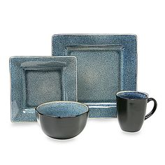 Squared Blue 16-Piece Dinnerware Set