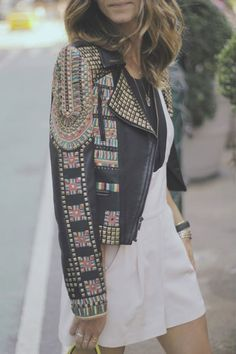 Studded, embellished, boho leather jacket. The perfect statement piece for the cooler months.