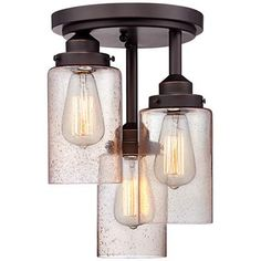 """Libby Collection 9 1/2"""" Wide Oil-Rubbed Bronze Ceiling Light - #4X158 