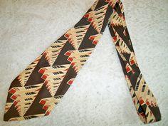 Vintage 1940s Mens MCM Abstract Architectural Design Necktie Swing Era Mid Century Modern by BlackRain4