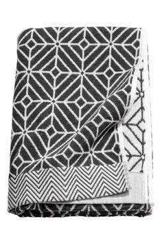 Telo doccia tessuto jacquard - Bianco/antracite - HOME   H&M IT 1