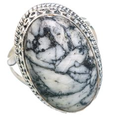 Large Pinolith Jasper 925 Sterling Silver Ring Size 8.75 RING769740