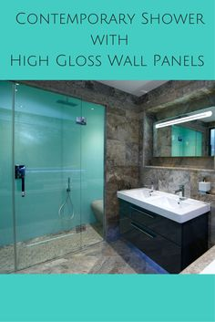 These high gloss shower wall panels (which look like back painted glass) provide a sleek look along with this wall mounted vanity. Click here to learn more - http://innovatebuildingsolutions.com/products/bathrooms/high-gloss-acrylic-wall-panels