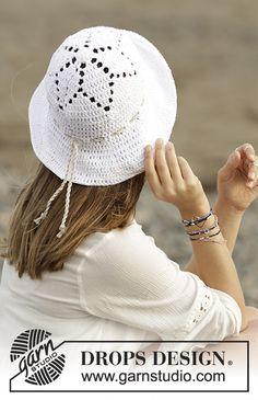 Virkad hatt med hålmönster i DROPS Paris. Gratis mönster från DROPS Design.