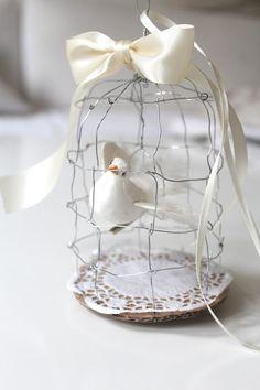 seidenfein 's Dekoblog: DIY * kleiner Vogelkäfig aus Draht * little wired birdcage