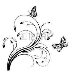 illustration - papillon noir sur un fond blanc Banque d'images