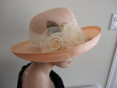 Vintage Gorgeous Light Pink Straw Wide Rim  Women Hat  70s/80s Medium 21 3/4 inches  Liz Claiborne Made in Canada