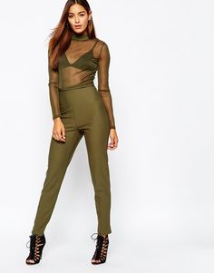 Missguided Sheer Top High Neck Jumpsuit