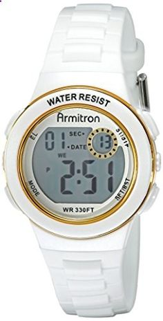 Armitron Sport Women's 45/7046WHT Gold Tone-Accented Digital Chronograph Watch. Go to the website to read more description.
