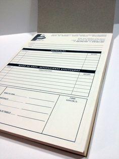 Talonario copiativo (3 hojas) en formato A5, encuadernación mediante técnica de termoencolado.