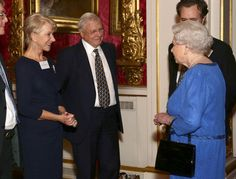 Queen Elizabeth II meets actress Dame Helen Mirren (L) and Sir David Attenborough during the Dramatic Arts reception at Buckingham Palace on February 17, 2014 in London, England.