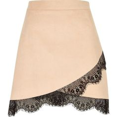 River Island Nude faux suede lace hem mini skirt (£28) ❤ liked on Polyvore featuring skirts, mini skirts, river island, mini skirt, wrap skirt, short mini skirts and lacy skirt