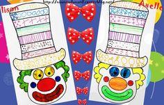 Graphisme sur chapeau de clown réalisé par Axelle et Lison   Un exercice amusant  graphisme sur chapeau de clown réalisé  par Axelle 5ans1/2 et Lison 3ans1/2, fiche à imprimer sur mon blog