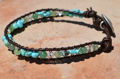 Turquoise and Aventurine Leather Healing Bracelet worn for Protection and Prosperity!