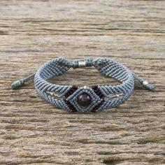 Karen Essence Karen Hill Tribe Silver and Garnet Pendant Bracelet#ad