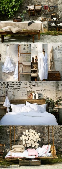 Vintage french style. Love the bed and table.