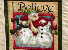 I Believe In Hugs  Quilted Wall Hanging  Snowmen by clubaloha, $24.00
