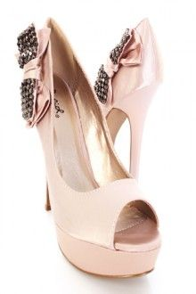 Blush Satin Bow Accent Platform Pump Heels