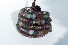 Fancy Jasper beaded leather wrap bracelet 5x by VMSCreations - StyleSays