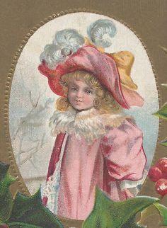 Lovely GIRL On Beautiful Vintage CHRISTMAS Postcard #Christmas