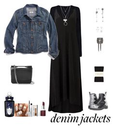 """Jean Jackets For Fall"" by sereneowl ❤ liked on Polyvore featuring Dr. Martens, Helmut Lang, Witchery, Madewell, Falke, PENHALIGON'S, Erickson Beamon, Forever 21, Jil Sander and Clinique"