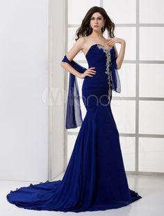 Robe soiree longue bleu roi