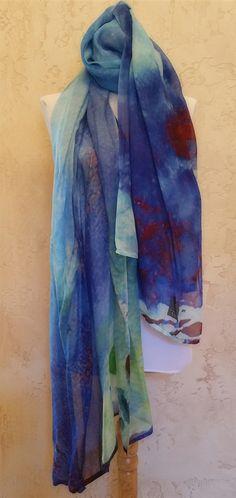 Bleu de France Scarf by Colleen Taylor European Beechwood Fabric ~ 80 x 30