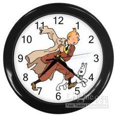 Wholesale Other Clocks & Accessories - Buy TINTIN Tin Tin Snowy Milou Clock Black Plastic Frame, $65.17   DHgate