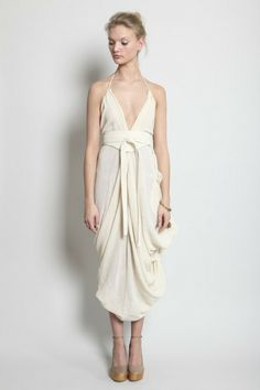 TOTOKAELO - Electric Feathers - Infinite Parachute Tent Dress with Half Moon Belt - Natural