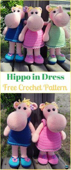 Crochet Amigurumi Hippo in Dress Free Pattern - Amigurumi Crochet Hippo Toy Softies Free Patterns