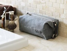 NO. 339 Compact Men's Wash Bag in Slate Gray Waxed Cotton Canvas and Horween Leather, Dopp Kit, Grooming Bag, Travel Toiletry Bag for Him