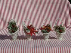 4 Vintage Flower Basket Christmas Ornaments Poinsettias and