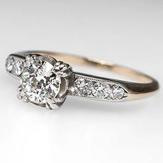 ANTIQUE OLD EURO DIAMOND ENGAGEMENT RING 14K GOLD 1930S